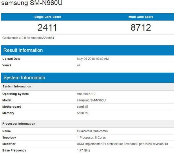 Thông tin cấu hình của Galaxy Note 9 bị rò rỉ trên ứng dụng Geekbench