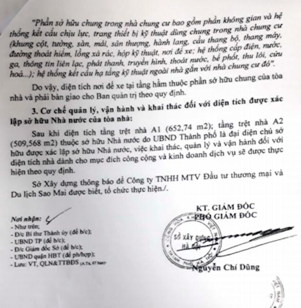 Sở xây dựng TP Hà Nội kết luận rằng diện tích tầng trệt cụm nhà chung cư 229 Phố Vọng thuộc sở hữu Nhà nước do UBND TP là đại diện chủ sở hữu.