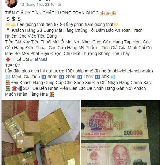 Việc rao bán tiền giả được công khai trên mạng xã hội facebook với 1 triệu tiền thật đổi 10 triệu tiền giả