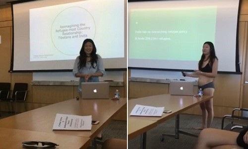 Letitia Chai mặc nội y trong khi thuyết trình gây tranh cãi gay gắt.
