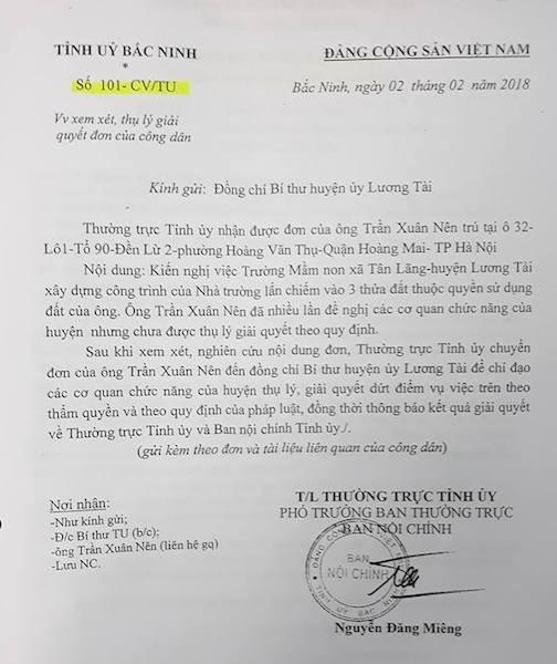 Chủ tịch tỉnh Bắc Ninh yêu cầu chủ tịch huyện Lương Tài làm rõ khiếu nại của công dân! - 1