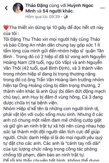 Hoa hậu Đặng Thu Thảo kêu gọi quyên góp và nói lời tri ân các hiệp sĩ trên trang cá nhân.