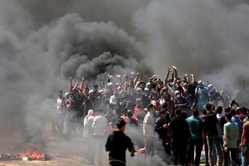Người dân Palestine biểu tình phản đối Mỹ ở dải Gaza. (ảnh: AFP)