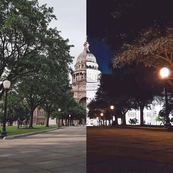"""Tại thời khắc trưa hè, Tòa nhà Quốc hội Tiểu bang Texas hiện lên với vẻ uy nghi vốn có, """"ẩn hiện"""" sau những tán cây xanh ngắt. Từng cành cây, ngọn lá, những chi tiết điêu khắc nghệ thuật của tòa nhà đều được thể hiện rất rõ nét. Đối với ảnh chụp ban ngày, hãy điều chỉnh khẩu độ Galaxy S9 ở mức f/2.4 giúp tăng độ sâu trường ảnh, khắc phục hoàn toàn hiện tượng cháy sáng thường thấy. Trong khung cảnh đêm, tòa nhà dường như khoác lên một chiếc áo hoàn toàn mới, trông lung linh và lấp lánh đến lạ kỳ, hệt như một tòa cung điện nguy nga dù chỉ được """"hỗ trợ"""" bởi vài ánh đèn nhỏ nhoi. Khi chụp đêm, chỉnh khẩu độ mở rộng ở mức f/1.5 sẽ giúp thu sáng nhiều hơn, giúp ảnh không bị mờ nhòe và hạn chế tối đa tình trạng nhiễu hạt. (ảnh: jnsilva - Instagram)"""