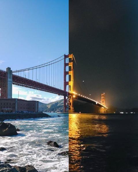 Bên cạnh bí kíp tùy chỉnh khẩu độ, việc chọn góc chụp cũng là yếu tố không kém phần quan trọng để tạo nên những khung cảnh đối lập ngày đêm cực nghệ. Cầu Cổng Vàng (Golden Gate Bridge), biểu tượng của riêng San Francisco ở góc chụp nghiêng từ dưới lên đã thể hiện được hai sắc thái hoàn toàn trái ngược ở hai thời khắc ngày và đêm. Phần ảnh ban ngày chụp ở điều kiện nắng khá gay gắt nhưng vẫn gột tả được hết vẻ đẹp xanh biếc của mây trời, đường ngăn cách rõ rệt của dãy núi, cũng như từng đợt sóng vỗ vào đá tung bọt trắng xóa. Ngược lại khi đêm về, cầu Cổng Vàng ở góc nghiêng có cảm giác như dài vô tận với những chùm đèn lấp lánh, hẳn đây là cây cầu dẫn đến thế giới cổ tích nào chăng? (ảnh: maxloew – Instagram)