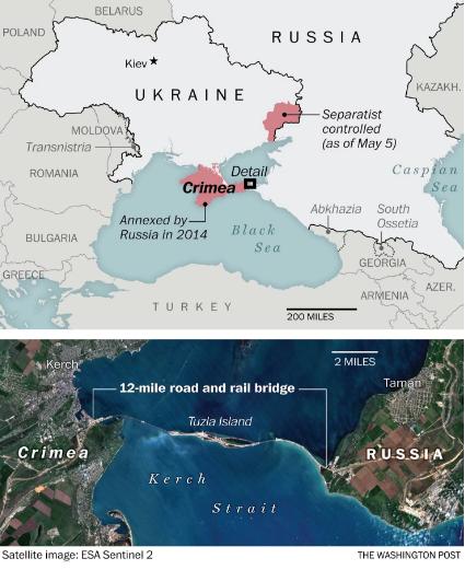 Bản đồ khu vực Crimea (Ảnh: Washington Post)