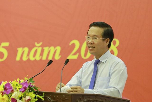 Ông Võ Văn Thưởng, Ủy viên Bộ Chính trị, Trưởng ban Tuyên giáo Trung ương phát biểu tại hội nghị