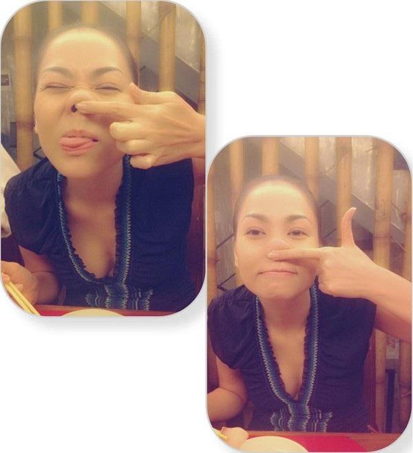 Để chứng minh vẻ đẹp của mình là tự nhiên, Thu Minh đã đăng tải lên facebook cá nhân những tấm hình thoải mái nghịch với chiếc mũi thật của mình.