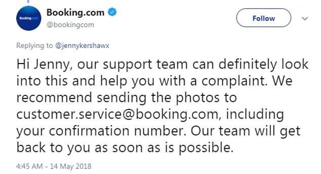 Đại diện từ phía trang web đặt phòng Booking.com đã liên lạc với Jenny nhưng cô quyết định bỏ qua và từ chối khiếu nại