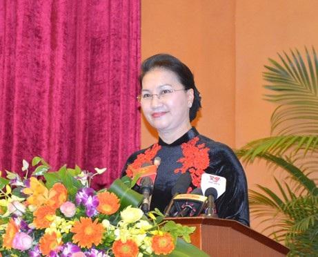 Chủ tịch Quốc hội Nguyễn Thị Kim Ngân phát biểu tại Lễ kỷ niệm. Ảnh: VGP/Nguyễn Hoàng