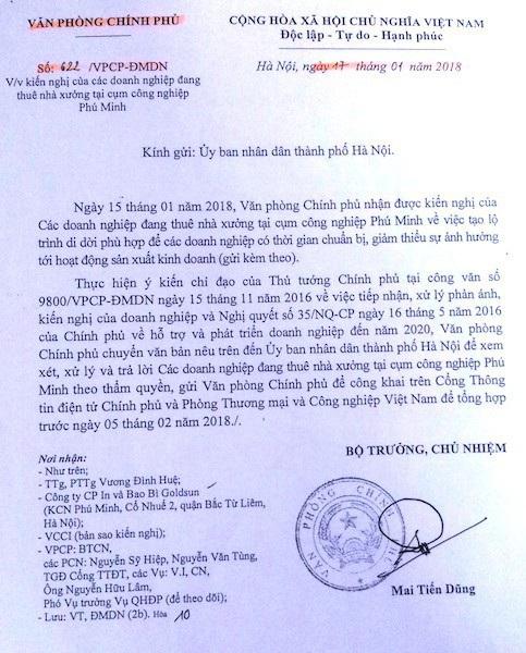 Văn phòng Chính phủ yêu cầu xem xét kiến nghị của các doanh nghiệp tại cụm công nghiệp Phú Minh.