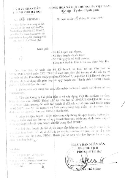 Năm 2017, UBND TP Hà Nội tiếp tục ra văn bản chỉ đạo giải quyết sự việc.