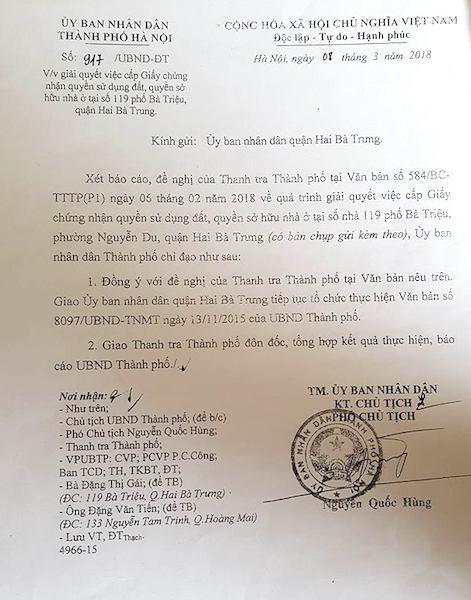 UBND TP Hà Nội chỉ đạo nhanh chóng hoàn thiện quy trình cấp sổ đỏ cho gia đình số 119 Bà Triệu.