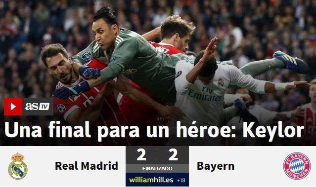 Tờ AS (Tây Ban Nha) ngợi ca người hùng Keylor Navas, người đã có hàng loạt pha cứu thua ấn tượng