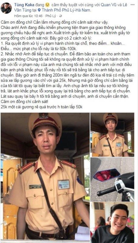 Đoạn chia sẻ của tài khoản Facebook Tùng Ka Ka về việc xử phạt của lực lượng CSGT thành phố Phủ Lý khiến cộng đồng mạng bàn tán sôi nổi (ảnh chụp màn hình)