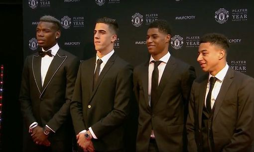 Paul Pogba, Joel Castro Pereira, Marcus Rashford, Jesse Lingard (từ trái qua phải)