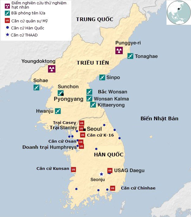 Đồ họa các lực lượng quân sự trên bán đảo Triều Tiên (Đồ họa: BBC)