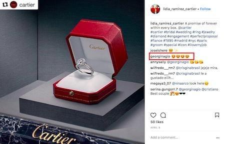 """Bạn gái CR7 nhắm đến một chiếc nhẫn siêu """"khủng"""""""