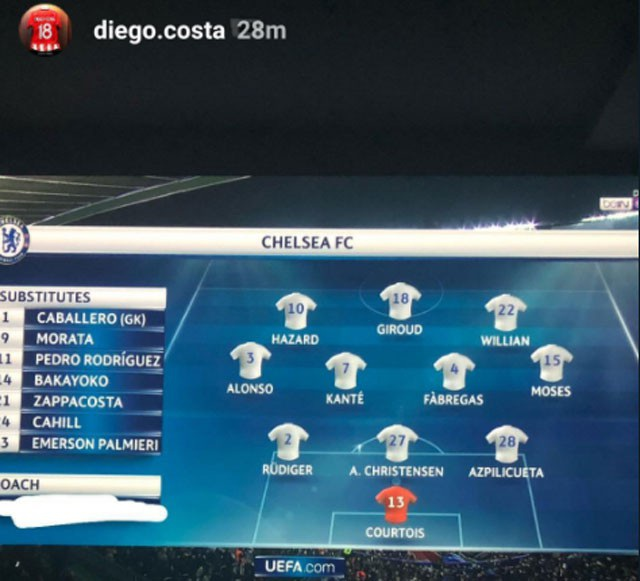 Diego Costa từng xóa tên HLV Conte khi đăng tải trên mạng xã hội