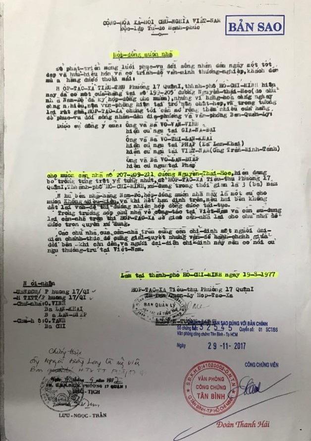 Năm 1977, Ban Quản lý hợp tác xã tiêu thụ phường 17 (quận 1) ký hợp đồng mượn nhà 3 năm với chủ nhà là ông Võ Văn Vĩnh, bà Võ Thị Lan Khai và bà Võ Lan Diệp.