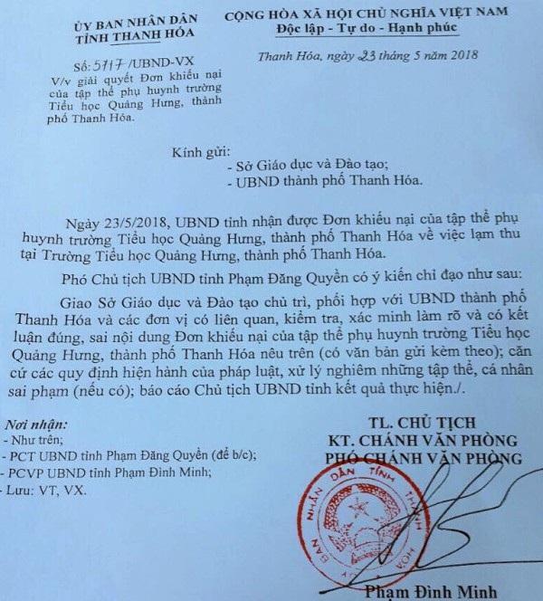 UBND tỉnh Thanh Hóa có công văn chỉ đạo kiểm tra, làm rõ và xử lý vi phạm
