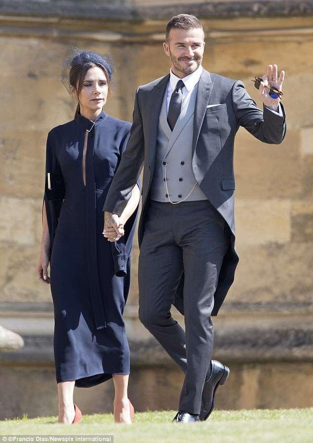 David Bekcham và Victoria Beckham tham dự đám cưới của Hoàng tử Harry hồi cuối tuần vừa rồi.