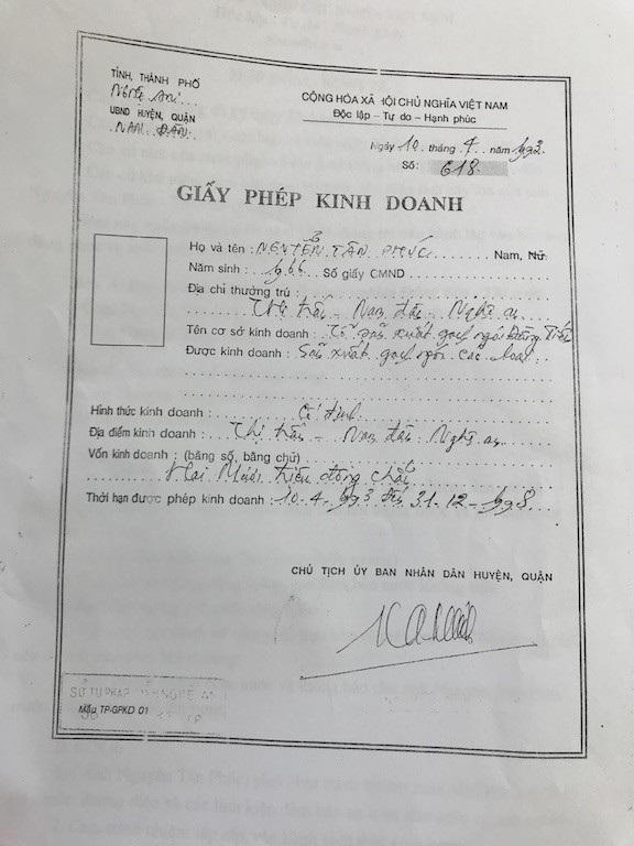 Thời điểm đó, ông cũng đã có giấy đăng ký kinh doanh.