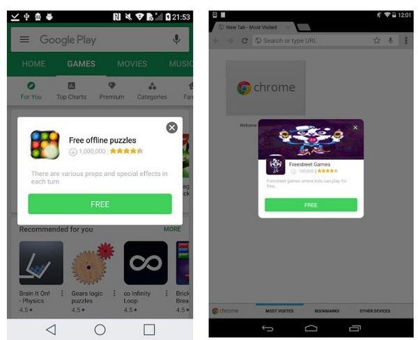 Những hộp thoại quảng cáo do mã độc Cosiloon hiển thị để kêu gọi người dùng cài đặt thêm các ứng dụng khác do mã độc này cung cấp