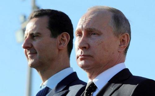 TT Syria Bashar al-Assad (trái) với sự trợ giúp của TT Nga Vladimir Putin đang thắng thế trong cuộc chiến. Ảnh: REUTERS