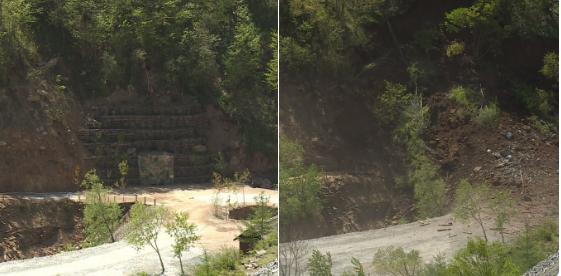 Bức ảnh chụp một trong số các đường hầm mới chưa từng được sử dụng của Triều Tiên trước và sau khi bị đánh sập. (Ảnh: Igor Zhdanov)