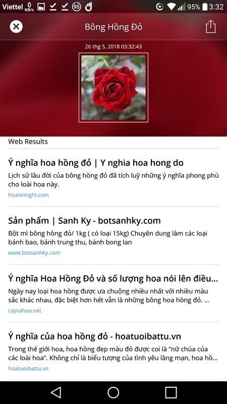 Từ khóa nhận diện đối tượng và kết quả tìm kiếm sau khi được chuyển sang tiếng Việt