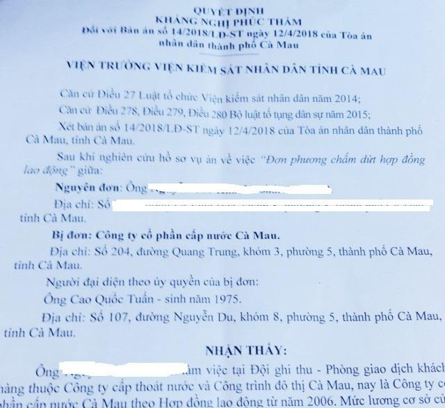 TAND TP Cà Mau tuyên bác yêu cầu của công nhân không đúng quy định! - 1
