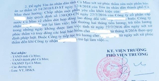 Một trong những quyết định kháng nghị của Viện KSND tỉnh Cà Mau đề nghị TAND tỉnh Cà Mau sửa bản án sơ thẩm, tuyên buộc Công ty Cấp nước Cà Mau nhận công nhân trở lại làm việc. (Ảnh: H.H)