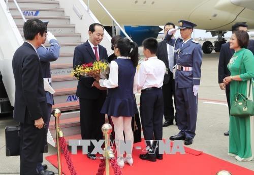 Lễ đón Chủ tịch nước Trần Đại Quang và Phu nhân tại sân bay Quốc tế Haneda, Thủ đô Tokyo, Nhật Bản. Ảnh: Nhan Sáng-TTXVN