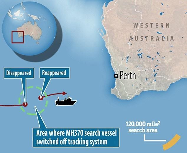 Khu vực tìm kiếm MH370 (Ảnh: Dailymail)