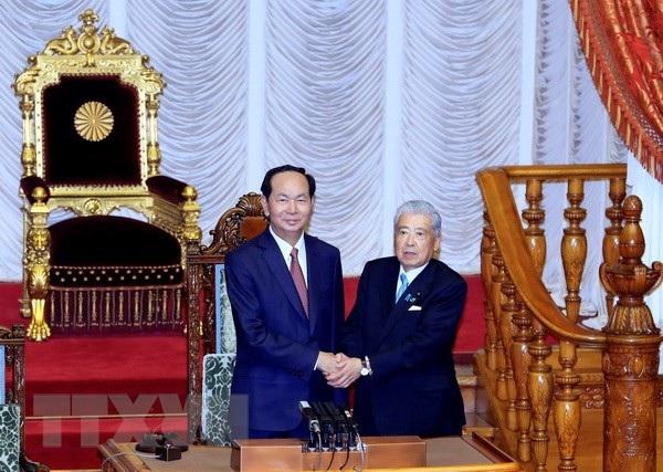 Chủ tịch nước Trần Đại Quang hội kiến với Chủ tịch Thượng viện Nhật Bản Date Chuichi. (Ảnh: Nhan Sáng/TTXVN)