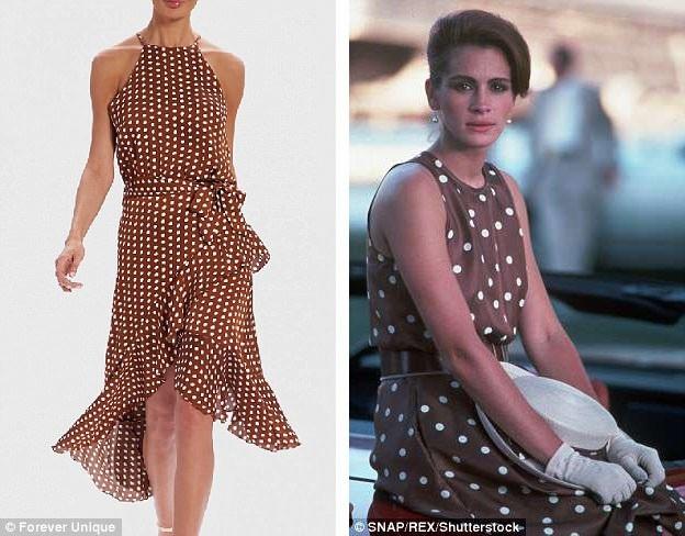 """Chiếc váy nâu chấm bi của nàng Vivian trong phim """"Người đàn bà đẹp"""" (phải) vừa được một hãng thời trang của Anh tung ra mẫu tương tự (trái). Chiếc váy nhanh chóng cháy hàng và giờ đây, muốn sở hữu thiết kế này, chị em phải đặt trước."""