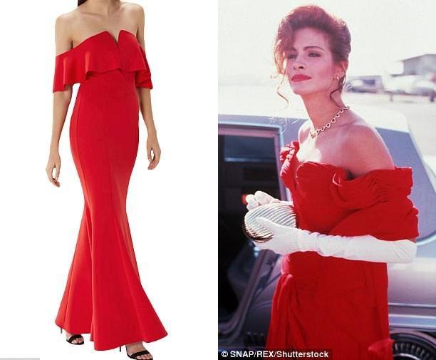 Bộ đầm dạ hội màu đỏ của Vivian cũng vừa được một thương hiệu thời trang tung ra mẫu tương tự.