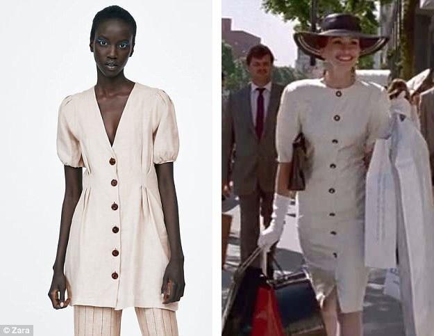 Chiếc áo váy của một nhà mốt đến từ Tây Ban Nha có sự tương đồng khá lớn với một bộ đầm của Vivian trong phim.