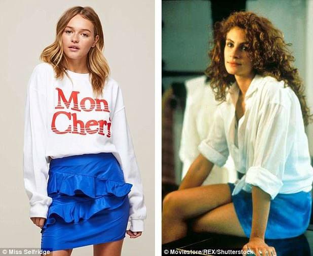 Công thức áo trắng kết hợp váy ngắn màu xanh đã được phác thảo ra từ năm 1990.