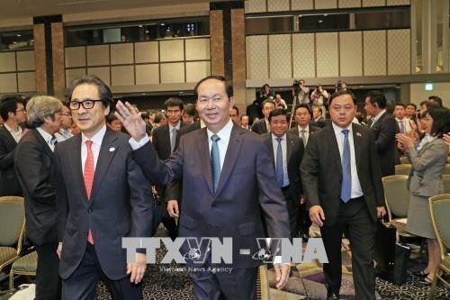Trong khuôn khổ chuyến thăm cấp Nhà nước tới Nhật Bản, chiều 31/5/2018, tại Thủ đô Tokyo, Chủ tịch nước Trần Đại Quang đến dự và phát biểu tại Hội nghị Xúc tiến đầu tư Việt Nam. Ảnh: Nhan Sáng - TTXVN