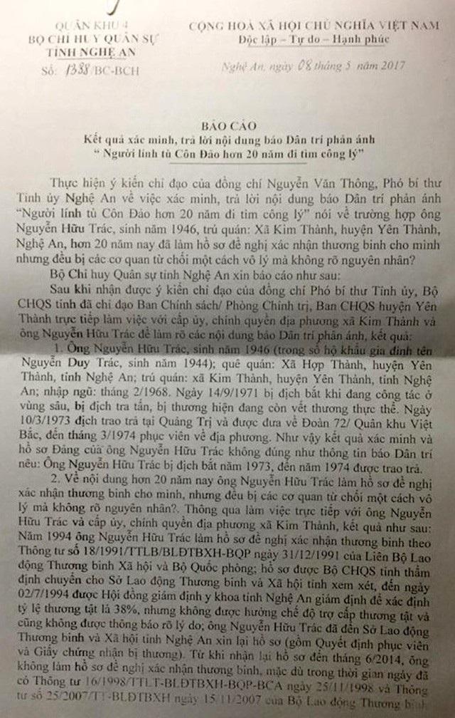 """Công văn số 1338 BC-BCH của Bộ Chỉ huy Quân sự tỉnh Nghệ An trả lời Báo điện tử Dân trí về vụ: """"Người lính Côn Đảo hơn 20 năm đi tìm công lý!"""", đã nhen nhóm tia hi vọng cho ông Trác."""