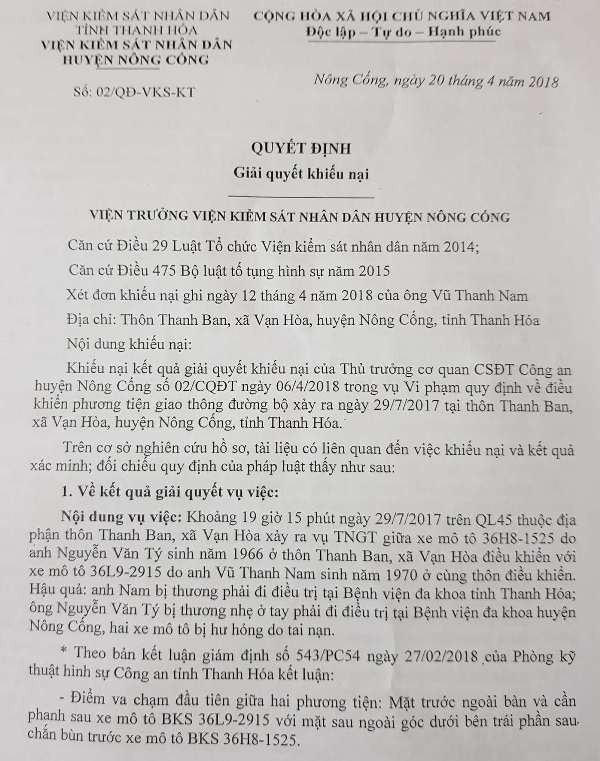 Quyết định giải quyết khiếu nại của Viện kiểm sát nhân dân huyện Nông Cống về vụ việc nêu trên