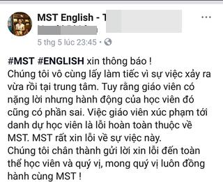 Trang face book MST- Tiếng Anh... bất ngờ đăng lời xin lỗi.