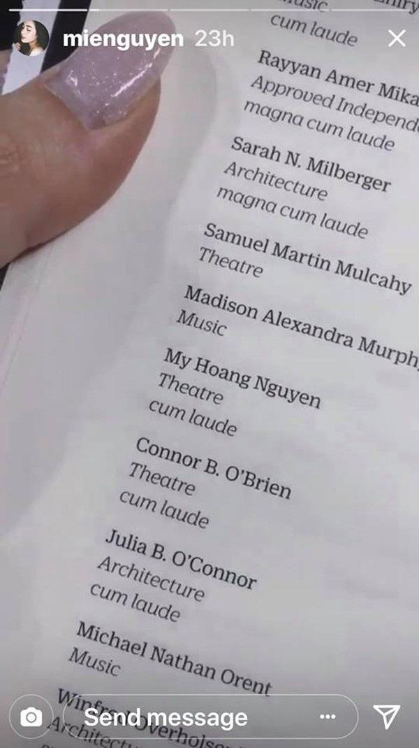 Theo danh sách nhận bằng tốt nghiệp, Mie đạt được bằng danh dự giỏi (cum laude)