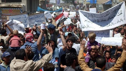 Các cuộc biểu tình chống chính phủ Syria vào đầu năm 2011. Ảnh: AFP.