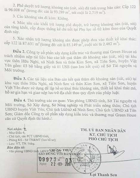 UBND tỉnh Bắc Giang đang chấp thuận thủ tục cho một doanh nghiệp khác xin khai thác cát trên sông Cầu.