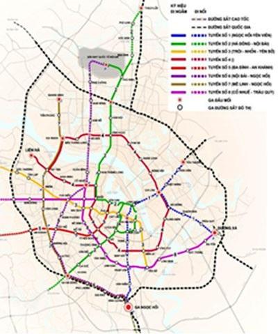 Sơ đồ tuyến đường sắt đô thị Nam Thăng Long - Trần Hưng Đạo