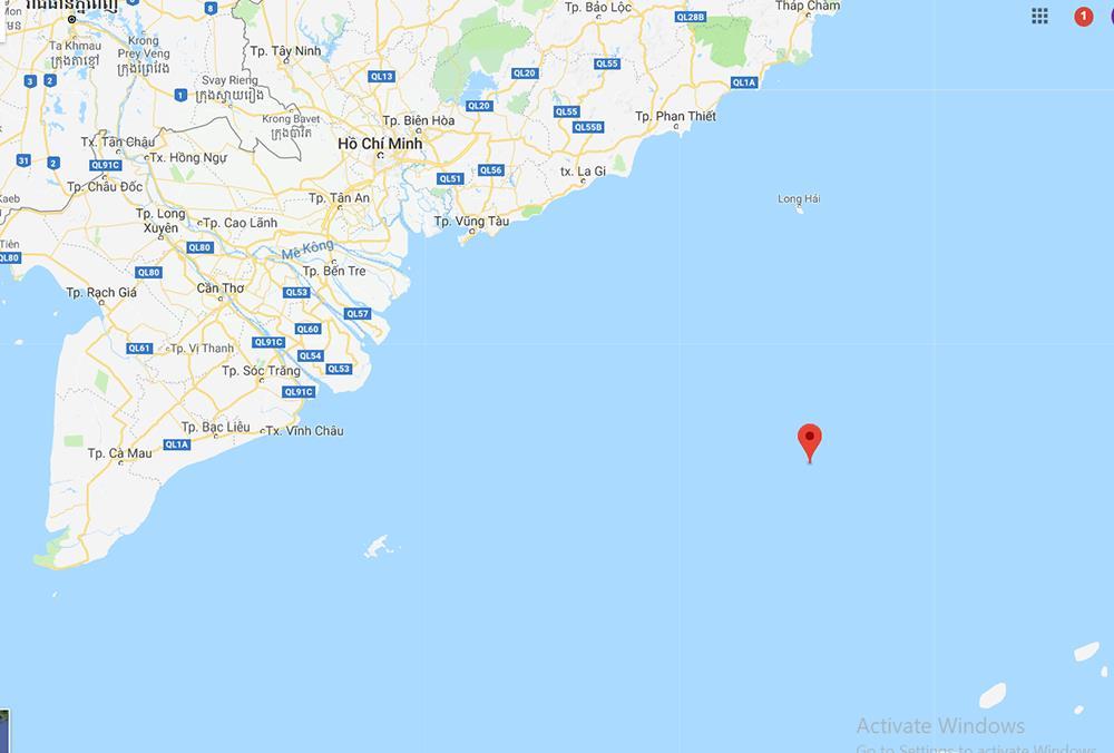 Vị trí tàu cá gặp nạn tại thời điểm tàu liên lạc yêu cầu trợ giúp khẩn cấp từ Đài TTDH Đà Nẵng