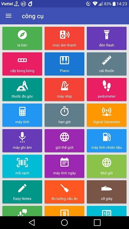 Các công cụ trên ứng dụng hiển thị bằng tiếng Việt nên dễ dàng và thuận tiện cho người dùng